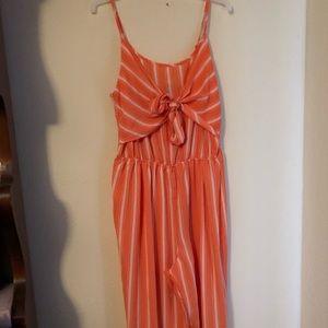 Orange, striped jumpsuit, spaghetti strap